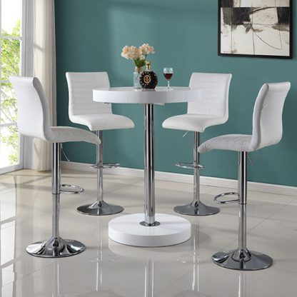 An Image of Havana Round Bar Table In White With 4 Ripple Bar Stools
