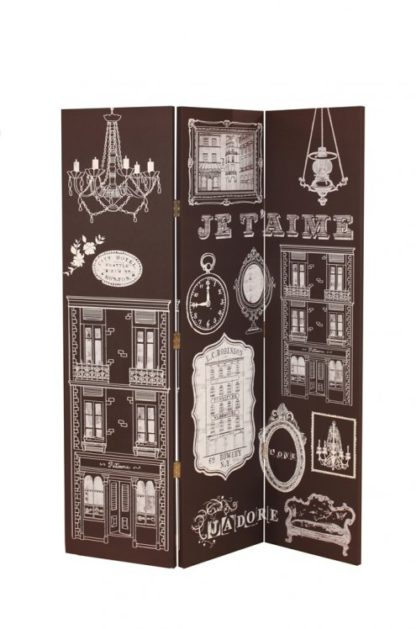 An Image of Bourgeoise French Canvas Room Divider In Printed Monochrome