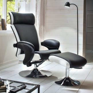 An Image of Liam Reclining Chair In Black And White Faux Leather With Stool
