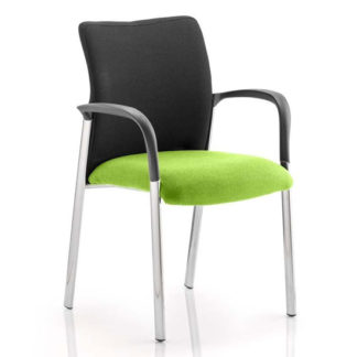 An Image of Academy Black Back Visitor Chair In Myrrh Green With Arms