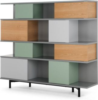 An Image of Fowler Large Shelving Unit, Multicolour Oak