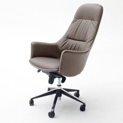 An Image of Kareno Swivel Office Chair In Cappuccino PU Leather With Castors