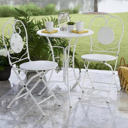 An Image of Intellifit Steel Set Of 3 Small Space Bistro Patio Set In White
