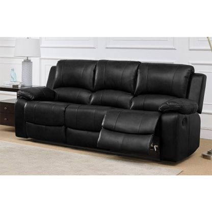 An Image of Andalusia Recliner LeatherGel And PU 3 Seater Sofa In Black