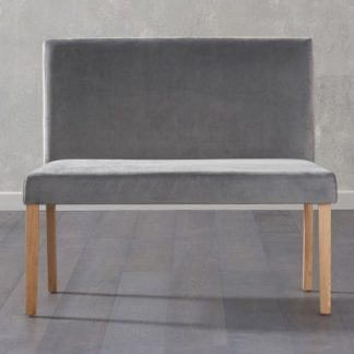 An Image of Miram Small Plush Grey Sof Fabric Dining Bench With Back