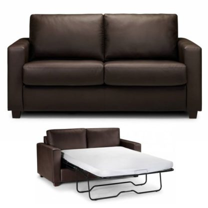 An Image of Saffy Brown Faux Leather Fold Away Sofabed