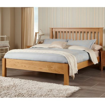 An Image of Lincoln Wooden Double Bed In Oak