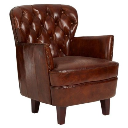 An Image of Sadalmelik Leather Button Back Armchair In Mocha Brown