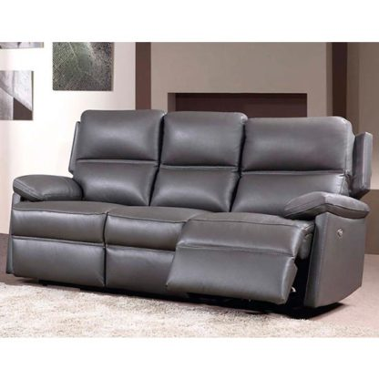 An Image of Bailey Leather 3 Seater Electric Recliner Sofa In Grey