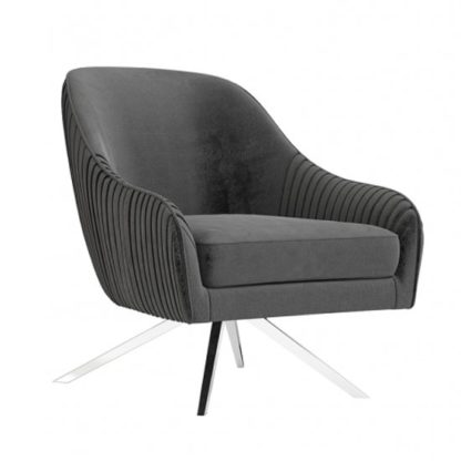 An Image of Bianca Velvet Fabric Swivel Lounge Chair In Dark Grey