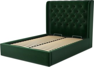 An Image of Custom MADE Romare Double size Bed with Ottoman, Bottle Green Velvet