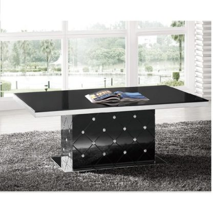 An Image of Levono High Gloss Coffee Table In Black With Rhinestone