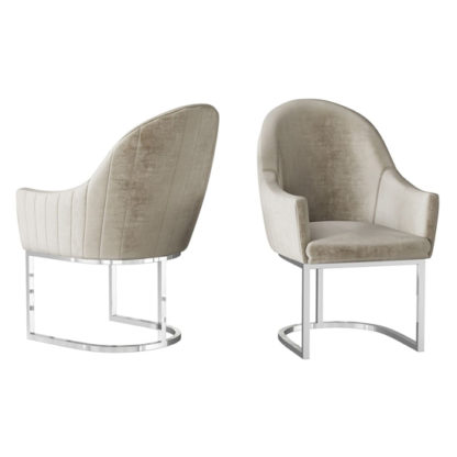 An Image of Viola Mink Velvet Fabric Dining Chairs In Pair
