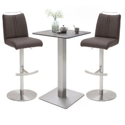 An Image of Soho Glass Bar Table With 2 Giulia Brown Stools
