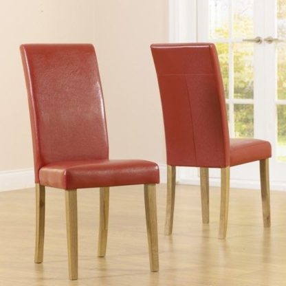 An Image of Cepheus Red Faux Leather And Solid Oak Dining Chairs In Pairs