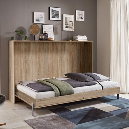 An Image of Juist Wooden Horizontal Foldaway King Size Bed In Planked Oak