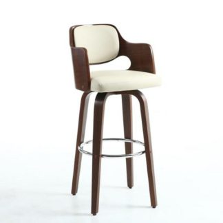 An Image of Mcgill Bar Stool In Cream PU And Walnut With Chrome Foot Rest