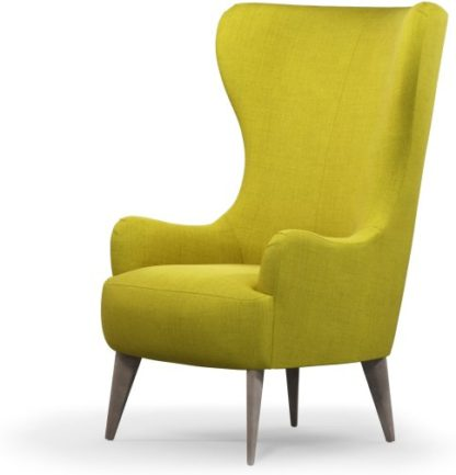 An Image of Custom MADE Bodil Accent Armchair, Light Moss with Light Wood Leg