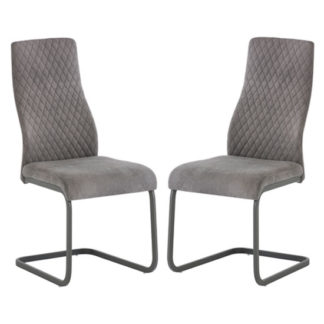 An Image of Palermo Light Grey Fabric Dining Chair In A Pair