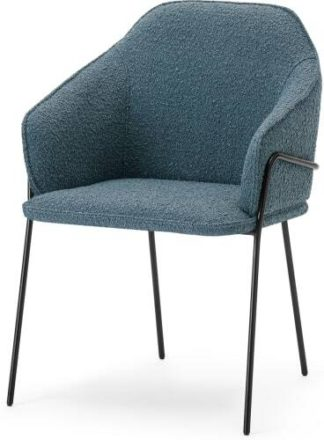 An Image of Stanley Carver Dining Chair, Dust Blue Boucle & Black