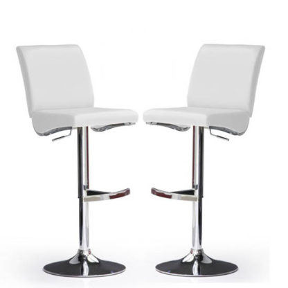 An Image of Diaz Bar Stools In White Faux Leather in A Pair