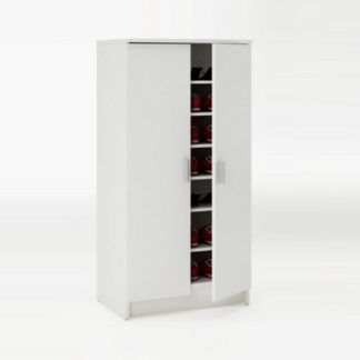 An Image of Devon Shoe Storage Cabinet In Pearl White With 2 Doors