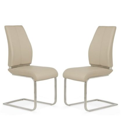 An Image of Dawlish Dining Chair In Taupe Faux Leather In A Pair