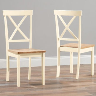 An Image of Chertan Wooden Oak And Cream Dining Chairs In Pair