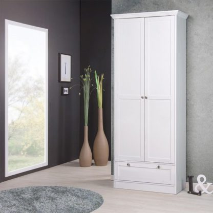 An Image of Country Shoe Cupboard In White With 2 Doors And 1 Drawer