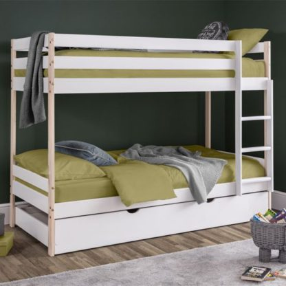 An Image of Nova Wooden Bunk Bed With Guest Bed In White Lacquer