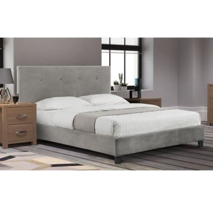 An Image of Morvik Fabric King Size Bed In Slate Velvet With Wooden Legs
