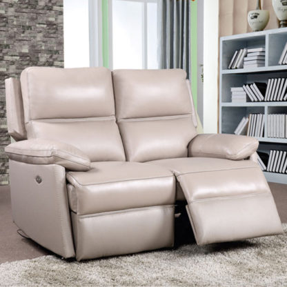 An Image of Bailey Leather 2 Seater Electric Recliner Sofa In Taupe