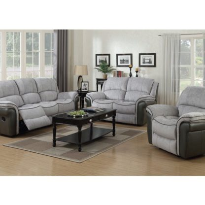 An Image of Lerna Fusion 3 Seater Sofa And 2 Armchairs Suite In Grey