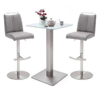 An Image of Soho White Glass Bar Table With 2 Giulia Ice Grey Leather Stools
