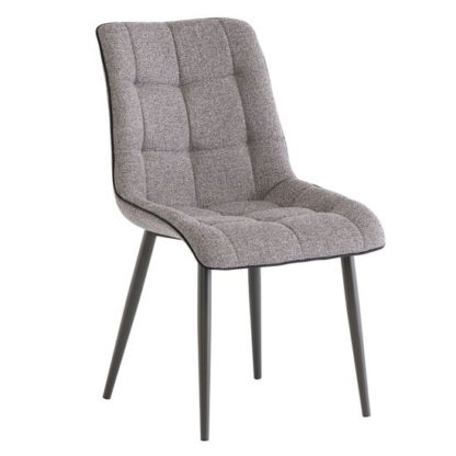 An Image of Picasso Fabric Dining Chair In Grey