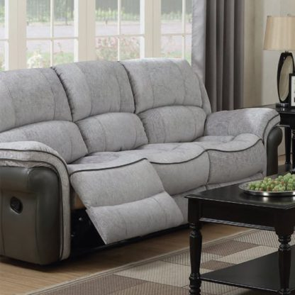 An Image of Lerna Fusion Fabric 3 Seater Sofa In Grey
