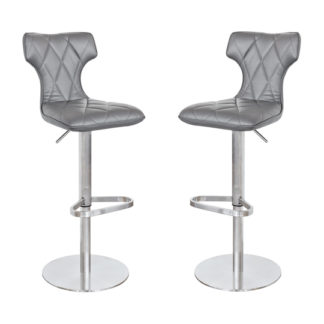 An Image of Ava Grey Leather Bar Stool In Pair