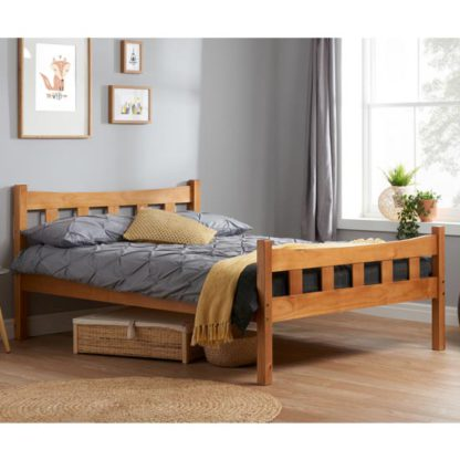 An Image of Miami Wooden Small Double Bed In Antique Pine