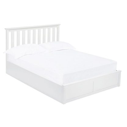 An Image of Augusto Wooden King Size Ottoman Bed In White