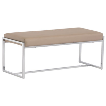 An Image of Soho Faux Leather Dining Bench In Stone
