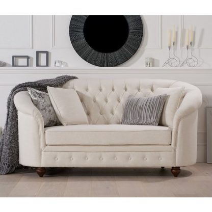 An Image of Astoria Chesterfield 2 Seater Sofa In Ivory Fabric