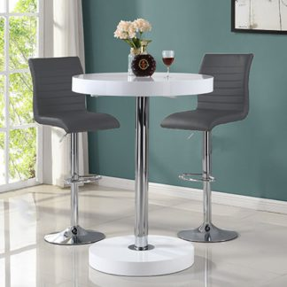 An Image of Havana Bar Table In White With 2 Ripple Grey Bar Stools
