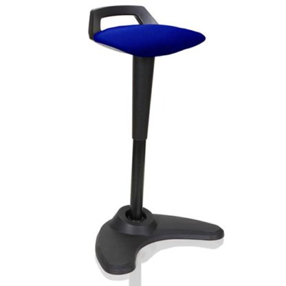 An Image of Spry Fabric Office Stool In Black Frame And Stevia Blue Seat