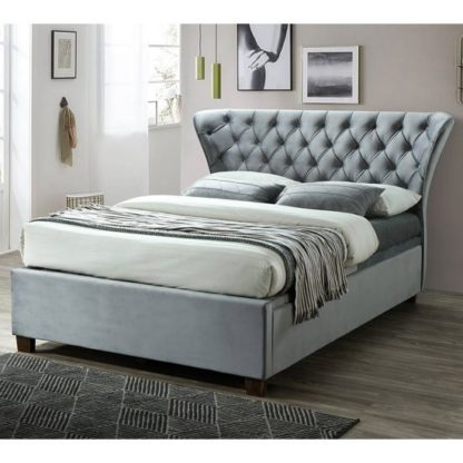 An Image of Georgia Ottoman Fabric Double Bed In Grey