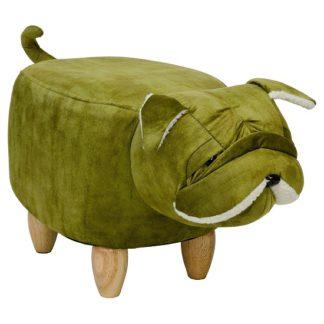 An Image of Shar Pei Dog Shaped Pouffe In Green Finish
