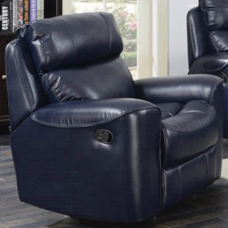 An Image of Mebsuta Leather Lounge Chaise Armchair In Navy