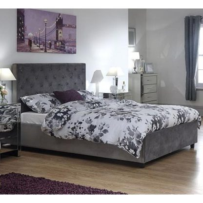 An Image of Utah Ottoman Wooden Double Bed In Grey