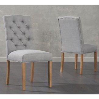 An Image of Camelopardalis Grey Fabric Dining Chairs In Pair
