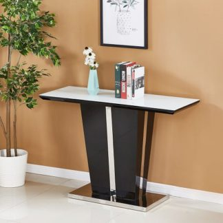 An Image of Memphis Glass Console Table In White With Black High Gloss
