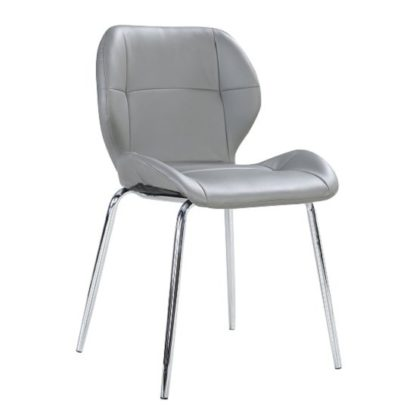 An Image of Darcy Dining Chair In Grey Faux Leather With Chrome Legs